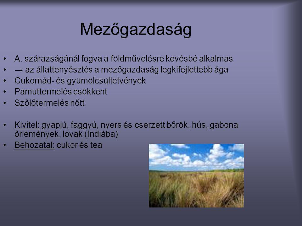 Mezőgazdaság •A. szárazságánál fogva a földművelésre kevésbé alkalmas •→ az állattenyésztés a mezőgazdaság legkifejlettebb ága •Cukornád- és gyümölcsü