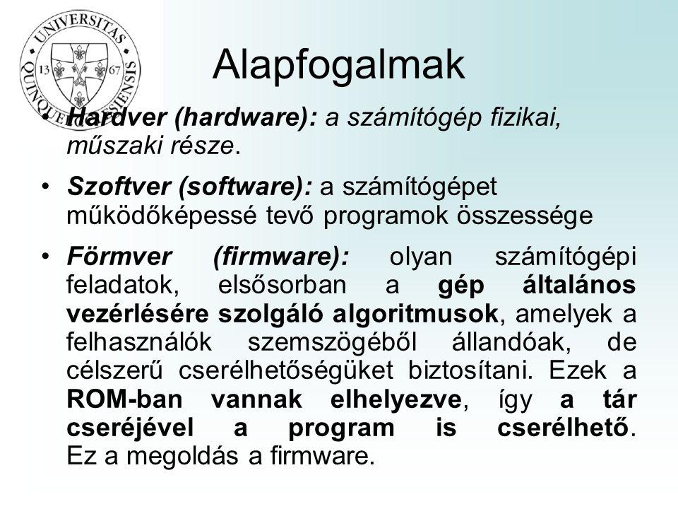Alapfogalmak •Hardver (hardware): a számítógép fizikai, műszaki része. •Szoftver (software): a számítógépet működőképessé tevő programok összessége •F