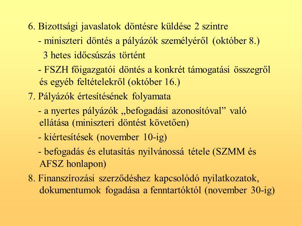 6. Bizottsági javaslatok döntésre küldése 2 szintre - miniszteri döntés a pályázók személyéről (október 8.) 3 hetes időcsúszás történt - FSZH főigazga