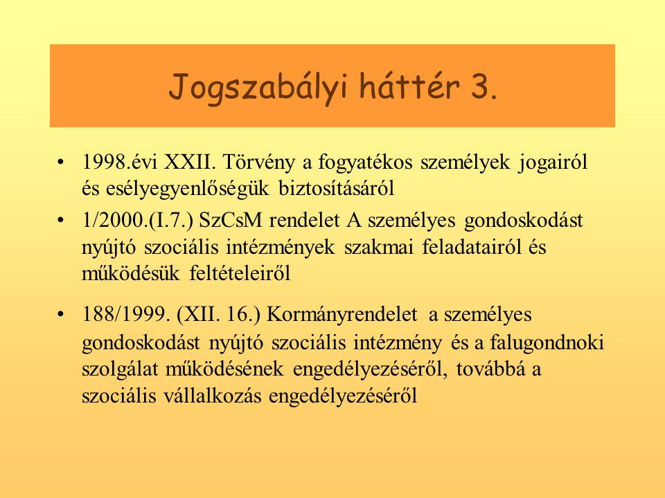Jogszabályi háttér 3.•1998.évi XXII.