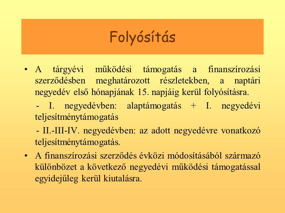 Folyósítás •A tárgyévi működési támogatás a finanszírozási szerződésben meghatározott részletekben, a naptári negyedév első hónapjának 15.