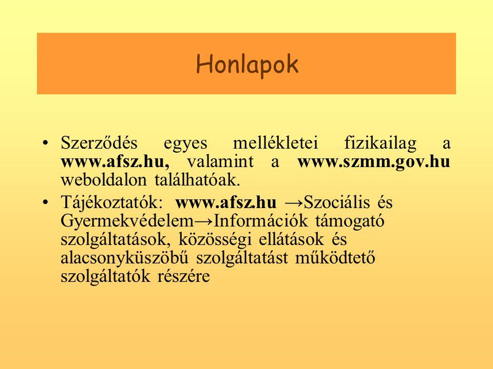 Honlapok •Szerződés egyes mellékletei fizikailag a www.afsz.hu, valamint a www.szmm.gov.hu weboldalon találhatóak.