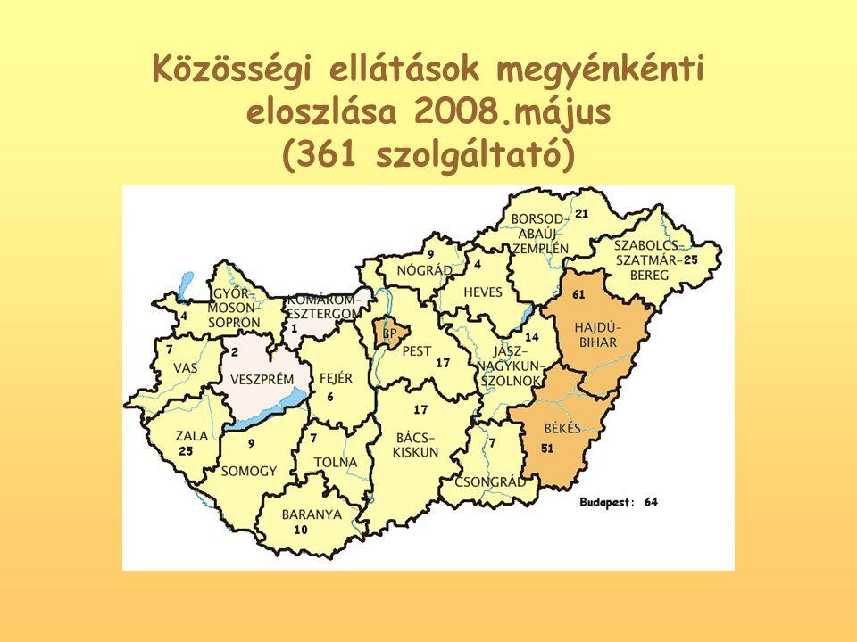 Közösségi ellátások megyénkénti eloszlása 2008.május (361 szolgáltató)