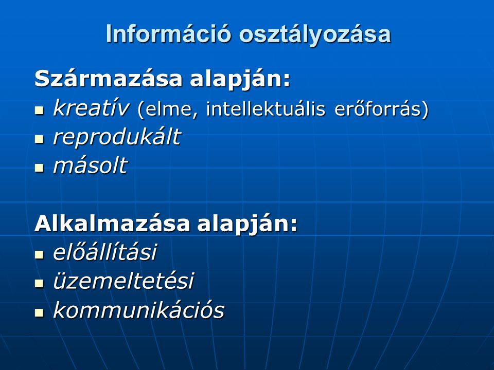 Információ osztályozása Származása alapján:  kreatív (elme, intellektuális erőforrás)  reprodukált  másolt Alkalmazása alapján:  előállítási  üzemeltetési  kommunikációs