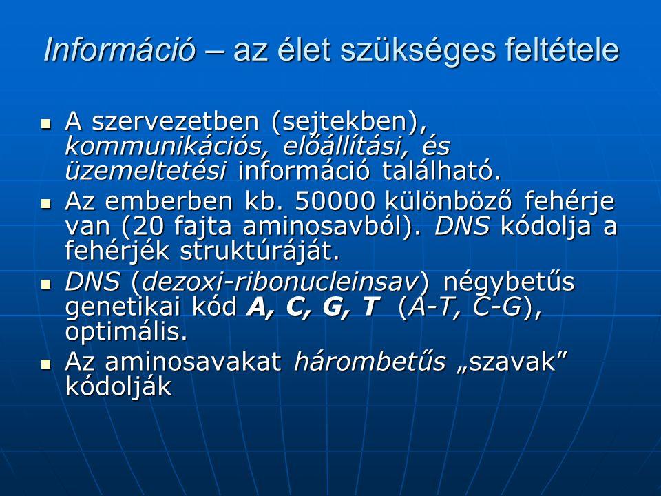 Információ – az élet szükséges feltétele  A szervezetben (sejtekben), kommunikációs, előállítási, és üzemeltetési információ található.