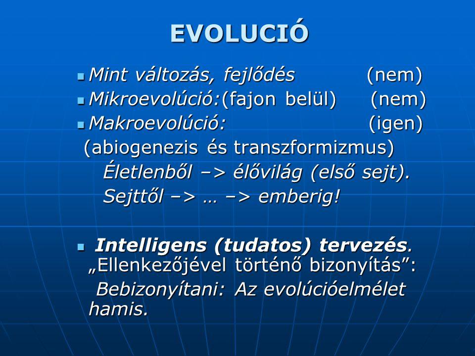 EVOLUCIÓ  Mint változás, fejlődés (nem)  Mikroevolúció:(fajon belül) (nem)  Makroevolúció: (igen) (abiogenezis és transzformizmus) (abiogenezis és transzformizmus) Életlenből –> élővilág (első sejt).