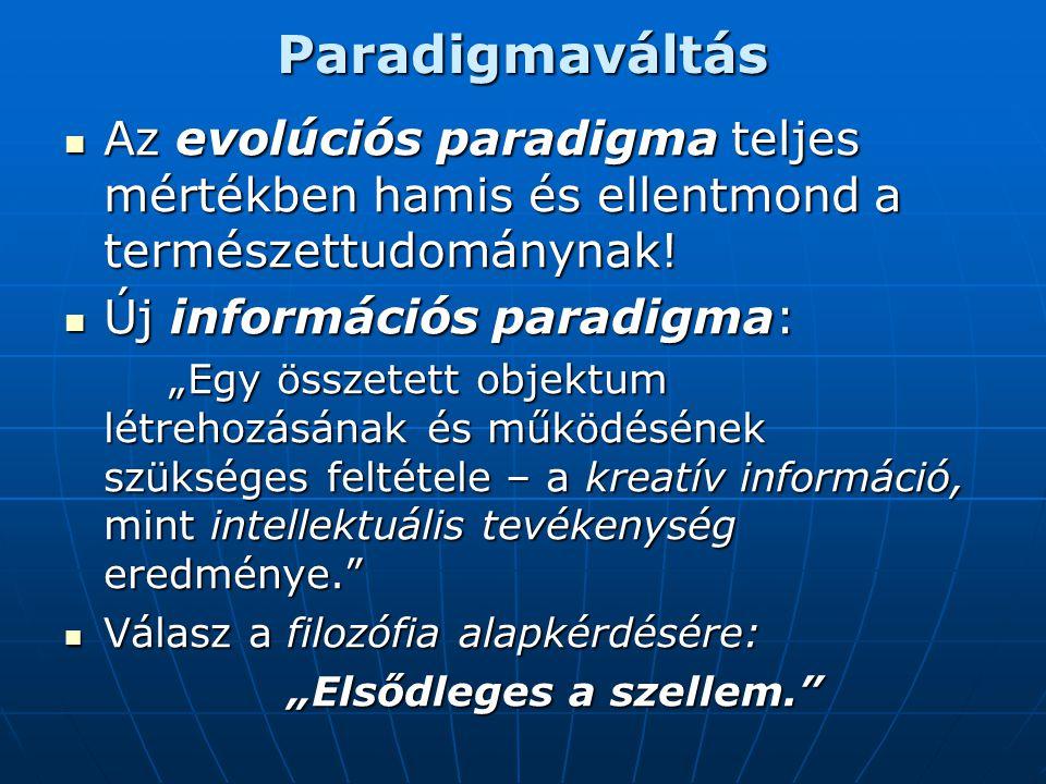 Paradigmaváltás  Az evolúciós paradigma teljes mértékben hamis és ellentmond a természettudománynak.