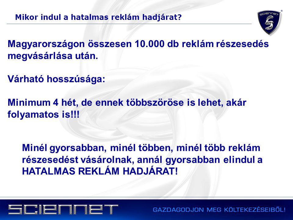 Mikor indul a hatalmas reklám hadjárat? Magyarországon összesen 10.000 db reklám részesedés megvásárlása után. Várható hosszúsága: Minimum 4 hét, de e