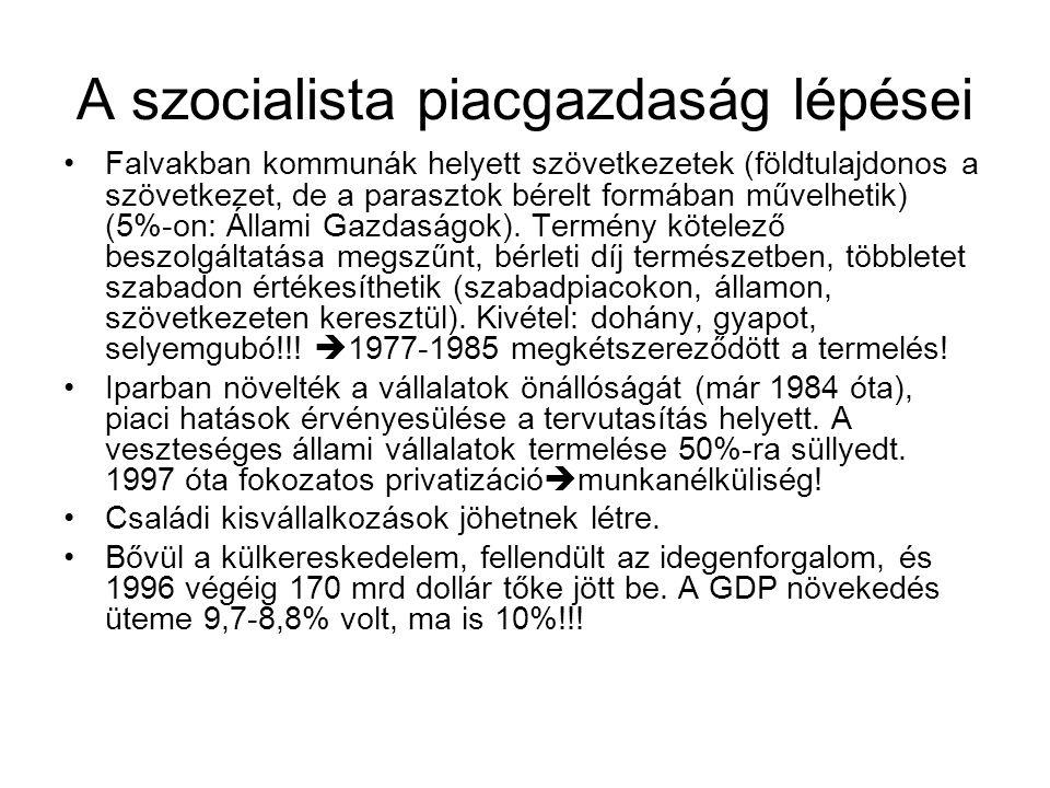 A szocialista piacgazdaság lépései •Falvakban kommunák helyett szövetkezetek (földtulajdonos a szövetkezet, de a parasztok bérelt formában művelhetik)