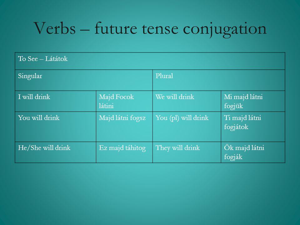 Verbs – future tense conjugation To See – Látátok Singular Plural I will drinkMajd Focok látini We will drinkMi majd látni fogjük You will drinkMajd l