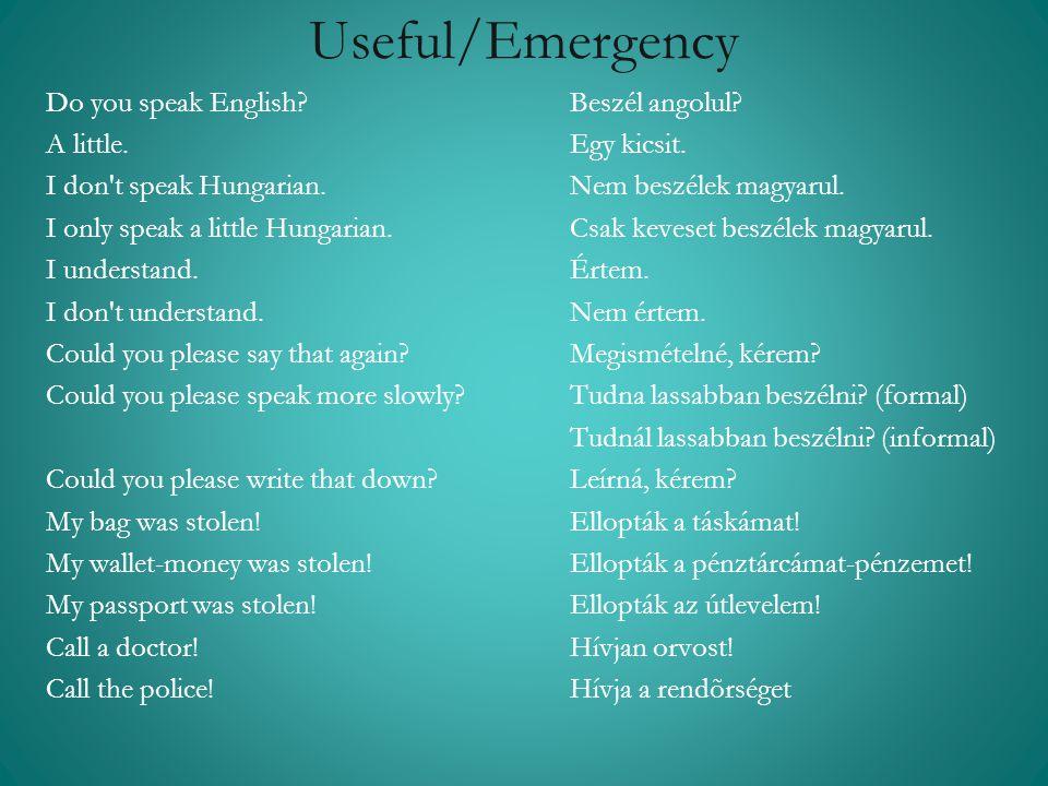 Useful/Emergency Do you speak English?Beszél angolul? A little.Egy kicsit. I don't speak Hungarian.Nem beszélek magyarul. I only speak a little Hungar