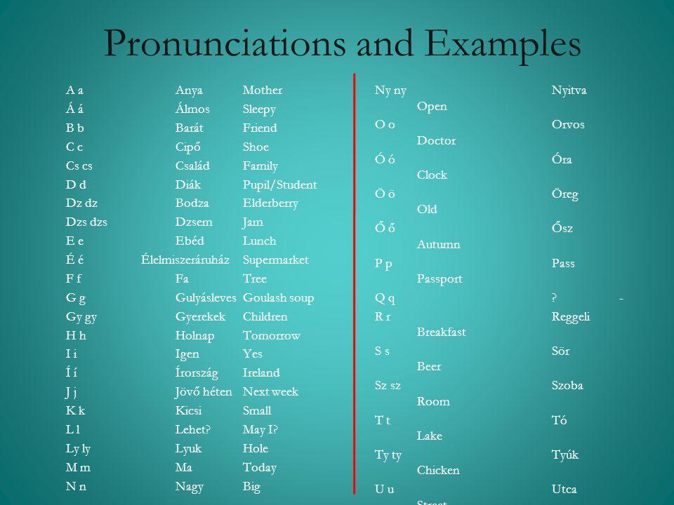 Pronunciations and Examples A a Anya Mother Á á Álmos Sleepy B b Barát Friend C c Cipő Shoe Cs cs Család Family D d Diák Pupil/Student Dz dz Bodza Eld