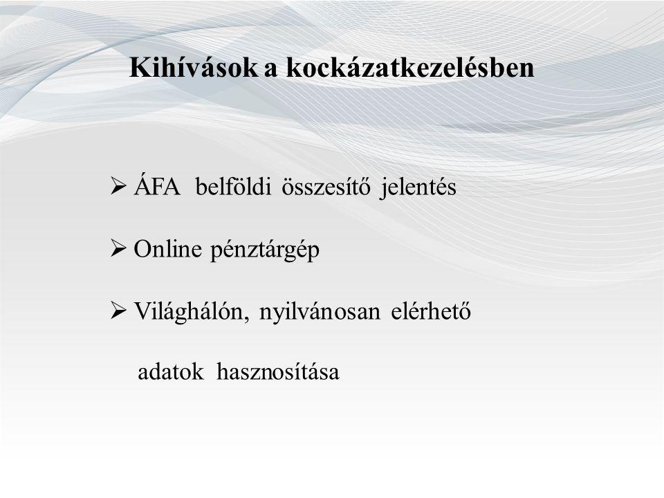 Kihívások a kockázatkezelésben  ÁFA belföldi összesítő jelentés  Online pénztárgép  Világhálón, nyilvánosan elérhető adatok hasznosítása