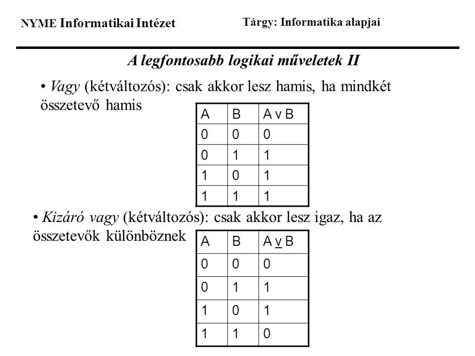 NYME Informatikai Intézet Tárgy: Informatika alapjai A legfontosabb logikai műveletek II • Vagy (kétváltozós): csak akkor lesz hamis, ha mindkét össze