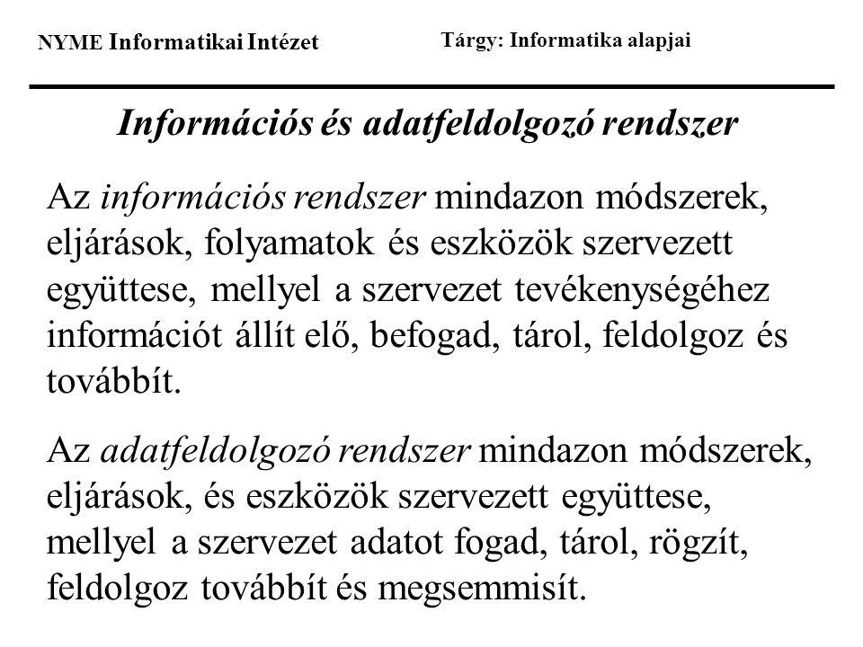 NYME Informatikai Intézet Tárgy: Informatika alapjai Információs és adatfeldolgozó rendszer Az információs rendszer mindazon módszerek, eljárások, fol