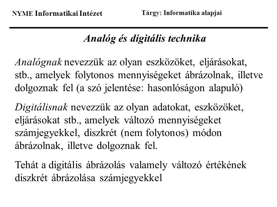 NYME Informatikai Intézet Tárgy: Informatika alapjai Analóg és digitális technika Analógnak nevezzük az olyan eszközöket, eljárásokat, stb., amelyek f