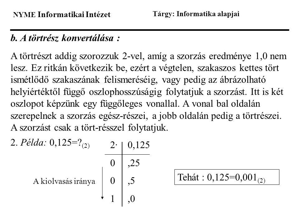 NYME Informatikai Intézet Tárgy: Informatika alapjai b. A törtrész konvertálása : A törtrészt addig szorozzuk 2-vel, amíg a szorzás eredménye 1,0 nem