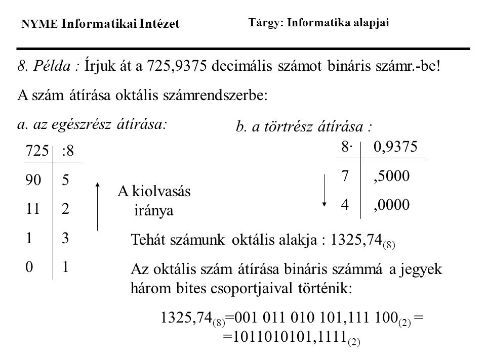 NYME Informatikai Intézet Tárgy: Informatika alapjai 8. Példa : Írjuk át a 725,9375 decimális számot bináris számr.-be! A szám átírása oktális számren