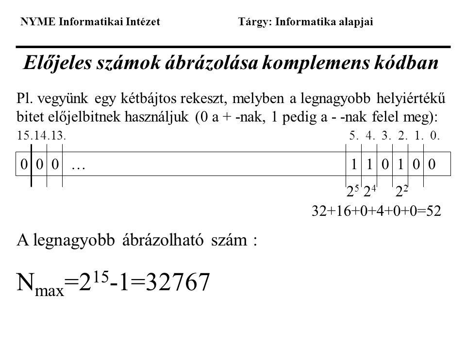 NYME Informatikai IntézetTárgy: Informatika alapjai Előjeles számok ábrázolása komplemens kódban Pl. vegyünk egy kétbájtos rekeszt, melyben a legnagyo