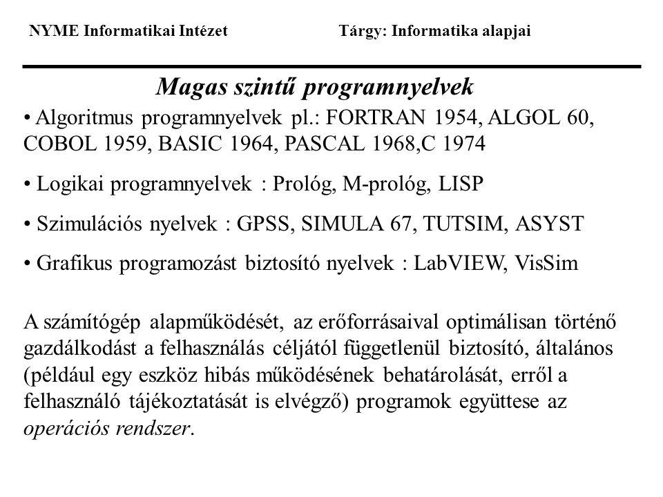 NYME Informatikai IntézetTárgy: Informatika alapjai Magas szintű programnyelvek • Algoritmus programnyelvek pl.: FORTRAN 1954, ALGOL 60, COBOL 1959, B