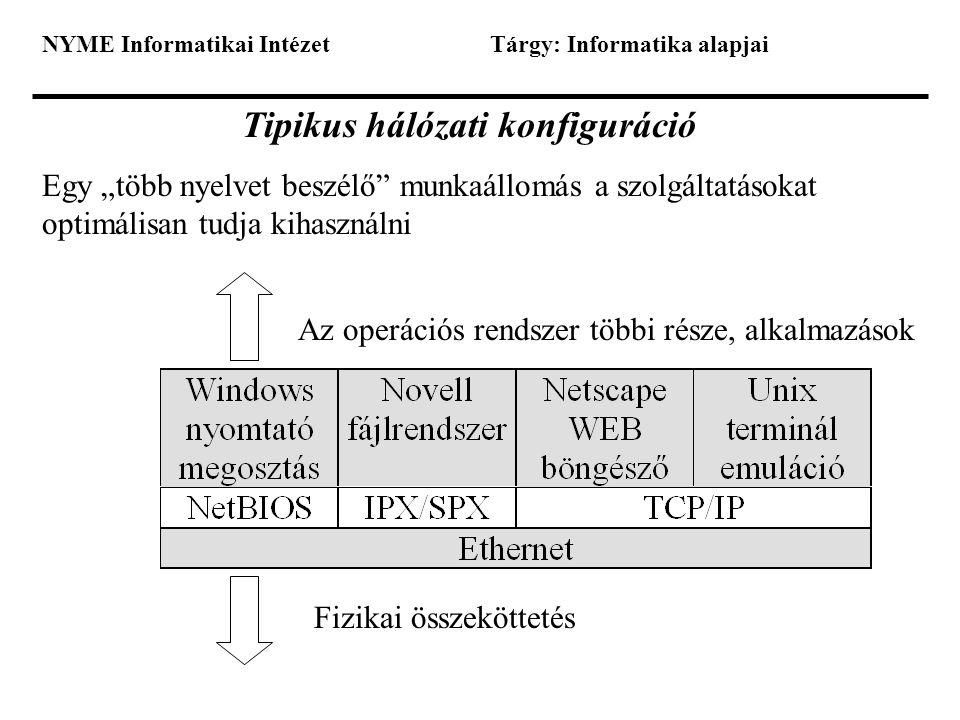 """NYME Informatikai IntézetTárgy: Informatika alapjai Tipikus hálózati konfiguráció Egy """"több nyelvet beszélő"""" munkaállomás a szolgáltatásokat optimális"""
