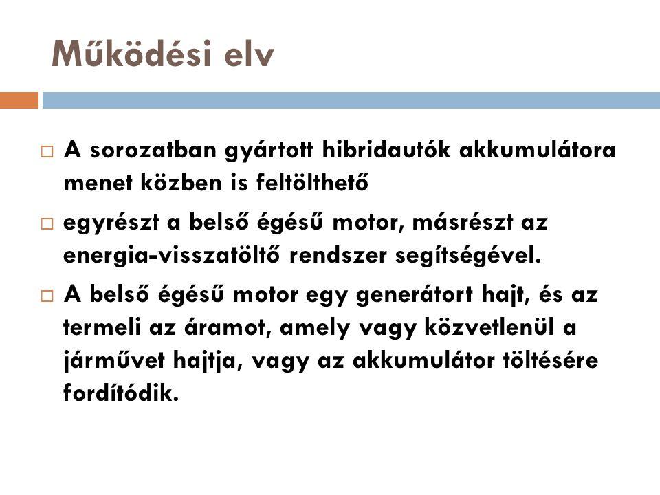 Működési elv  A sorozatban gyártott hibridautók akkumulátora menet közben is feltölthető  egyrészt a belső égésű motor, másrészt az energia-visszatö