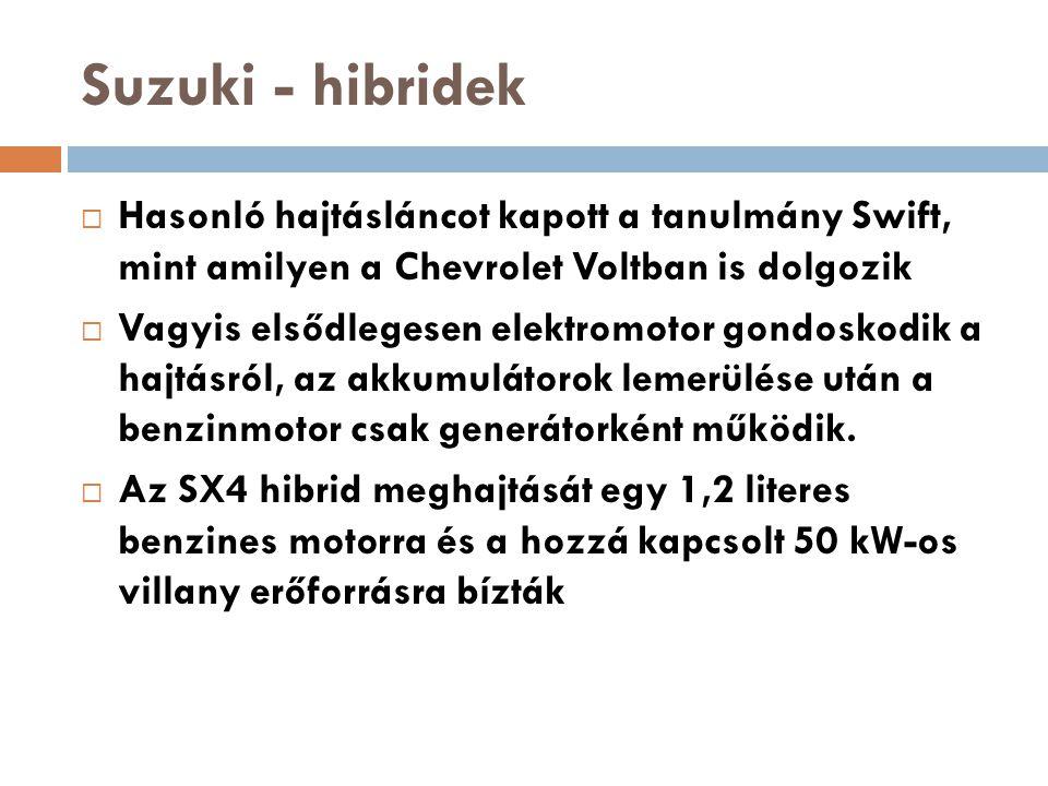 Suzuki - hibridek  Hasonló hajtásláncot kapott a tanulmány Swift, mint amilyen a Chevrolet Voltban is dolgozik  Vagyis elsődlegesen elektromotor gon