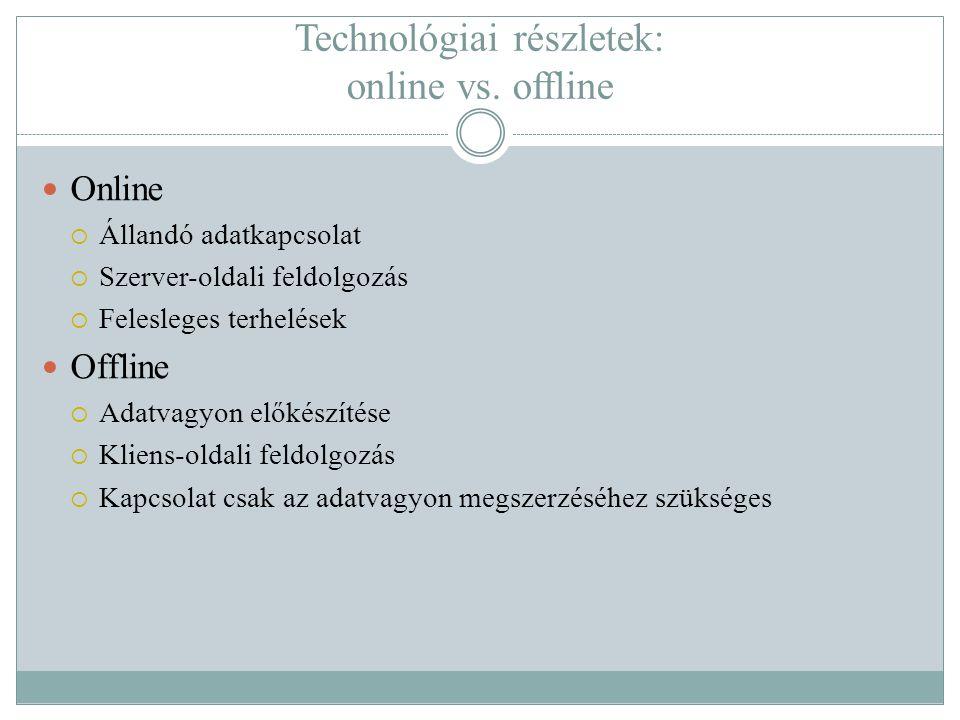 Technológiai részletek: online vs. offline  Online  Állandó adatkapcsolat  Szerver-oldali feldolgozás  Felesleges terhelések  Offline  Adatvagyo