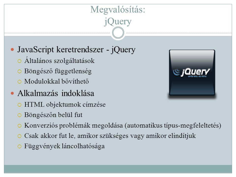Megvalósítás: jQuery  JavaScript keretrendszer - jQuery  Általános szolgáltatások  Böngésző függetlenség  Modulokkal bővíthető  Alkalmazás indokl