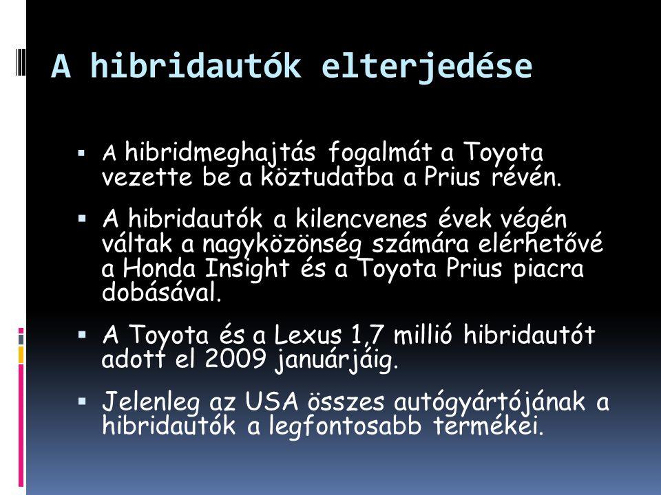 A hibridautók elterjedése  A hibridmeghajtás fogalmát a Toyota vezette be a köztudatba a Prius révén.  A hibridautók a kilencvenes évek végén váltak