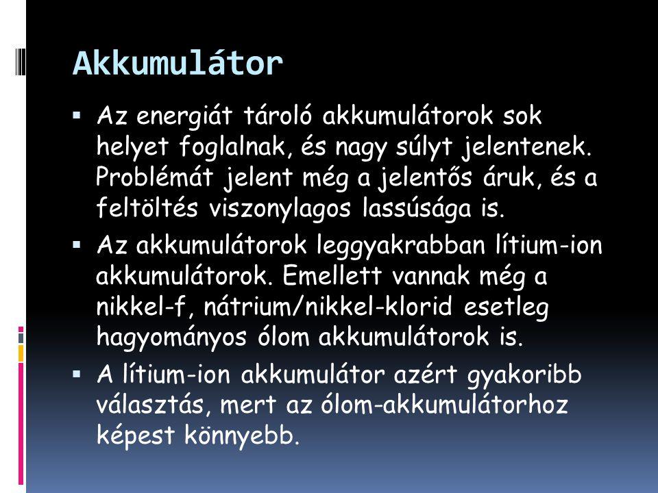 Akkumulátor  Az energiát tároló akkumulátorok sok helyet foglalnak, és nagy súlyt jelentenek.
