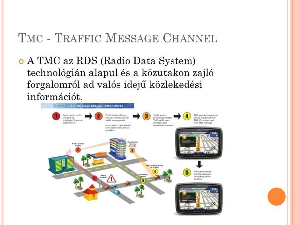 T MC - T RAFFIC M ESSAGE C HANNEL A TMC az RDS (Radio Data System) technológián alapul és a közutakon zajló forgalomról ad valós idejű közlekedési információt.