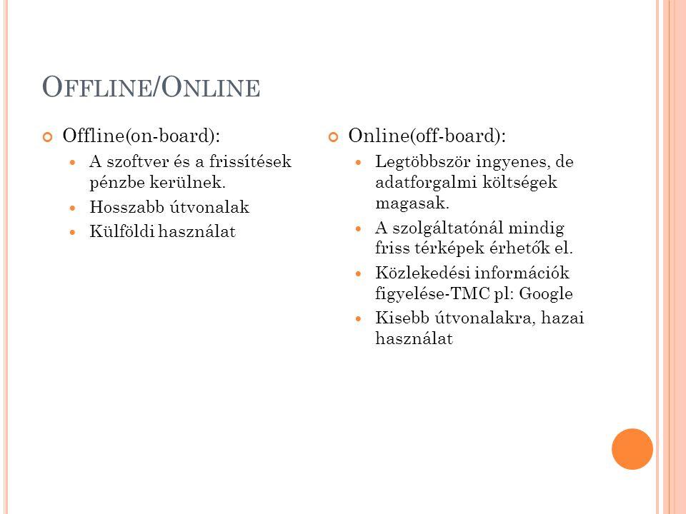 O FFLINE /O NLINE Offline(on-board):  A szoftver és a frissítések pénzbe kerülnek.