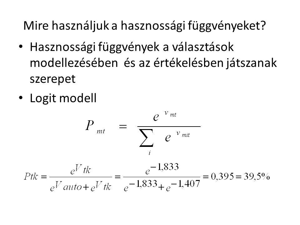 • Hasznossági függvények a választások modellezésében és az értékelésben játszanak szerepet • Logit modell Mire használjuk a hasznossági függvényeket