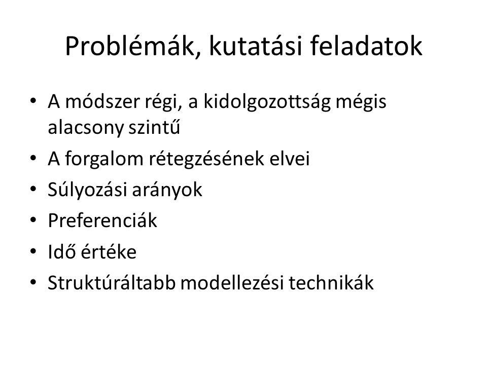 Problémák, kutatási feladatok • A módszer régi, a kidolgozottság mégis alacsony szintű • A forgalom rétegzésének elvei • Súlyozási arányok • Preferenciák • Idő értéke • Struktúráltabb modellezési technikák