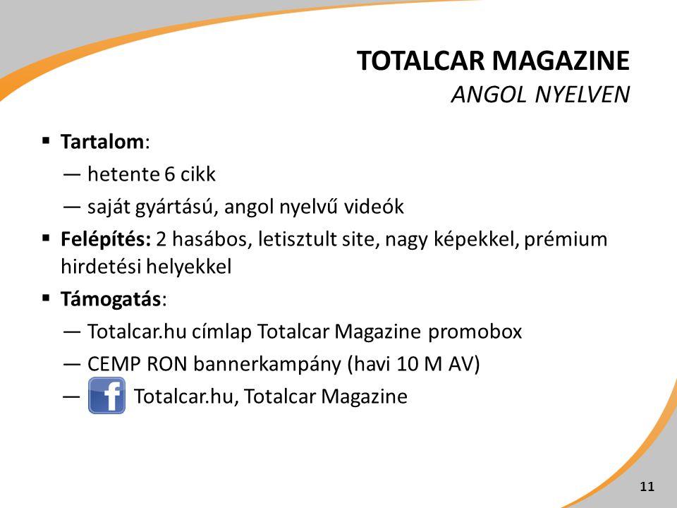 TOTALCAR MAGAZINE ANGOL NYELVEN  Tartalom: ―hetente 6 cikk ―saját gyártású, angol nyelvű videók  Felépítés: 2 hasábos, letisztult site, nagy képekkel, prémium hirdetési helyekkel  Támogatás: ―Totalcar.hu címlap Totalcar Magazine promobox ―CEMP RON bannerkampány (havi 10 M AV) ―Totalcar.hu, Totalcar Magazine 11