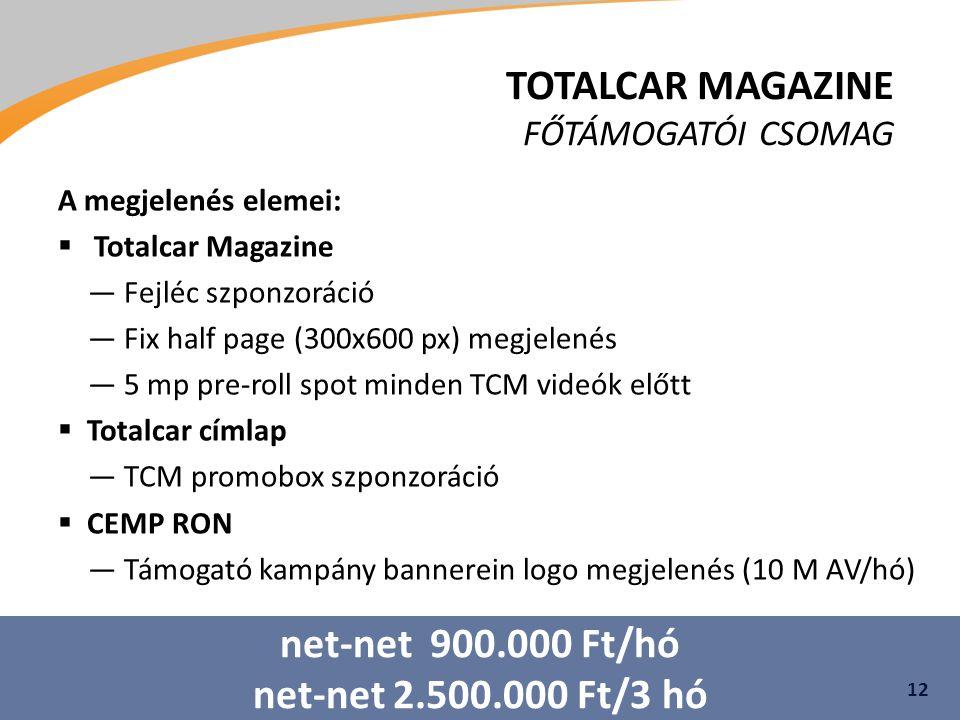 TOTALCAR MAGAZINE FŐTÁMOGATÓI CSOMAG A megjelenés elemei:  Totalcar Magazine ―Fejléc szponzoráció ―Fix half page (300x600 px) megjelenés ―5 mp pre-roll spot minden TCM videók előtt  Totalcar címlap ―TCM promobox szponzoráció  CEMP RON ―Támogató kampány bannerein logo megjelenés (10 M AV/hó) 12 net-net 900.000 Ft/hó net-net 2.500.000 Ft/3 hó