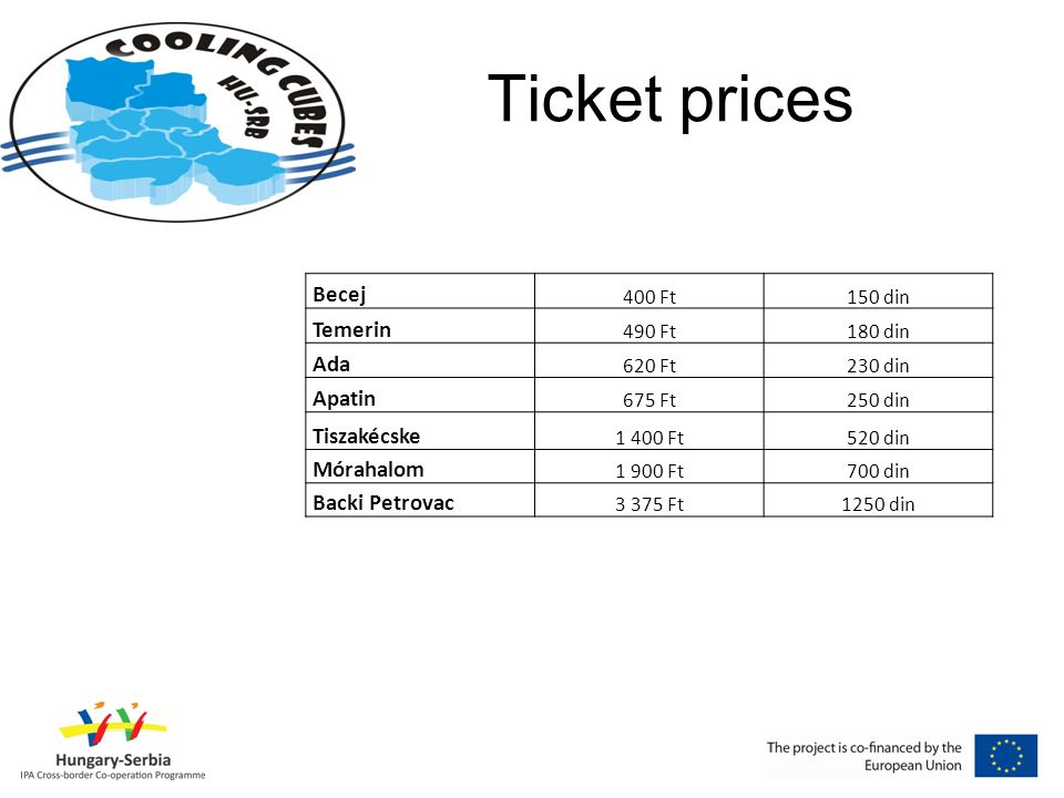 Ticket prices Becej 400 Ft150 din Temerin 490 Ft180 din Ada 620 Ft230 din Apatin 675 Ft250 din Tiszakécske 1 400 Ft520 din Mórahalom 1 900 Ft700 din Backi Petrovac 3 375 Ft1250 din