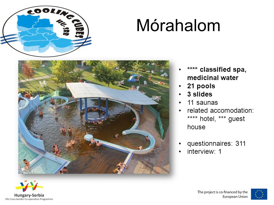 Mórahalom •**** classified spa, medicinal water •21 pools •3 slides •11 saunas •related accomodation: **** hotel, *** guest house •questionnaires: 311 •interview: 1