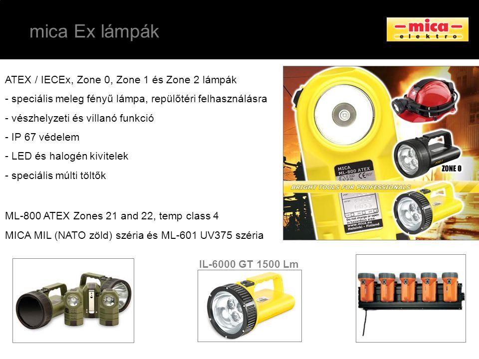 mica Ex lámpák ATEX / IECEx, Zone 0, Zone 1 és Zone 2 lámpák - speciális meleg fényű lámpa, repülőtéri felhasználásra - vészhelyzeti és villanó funkci