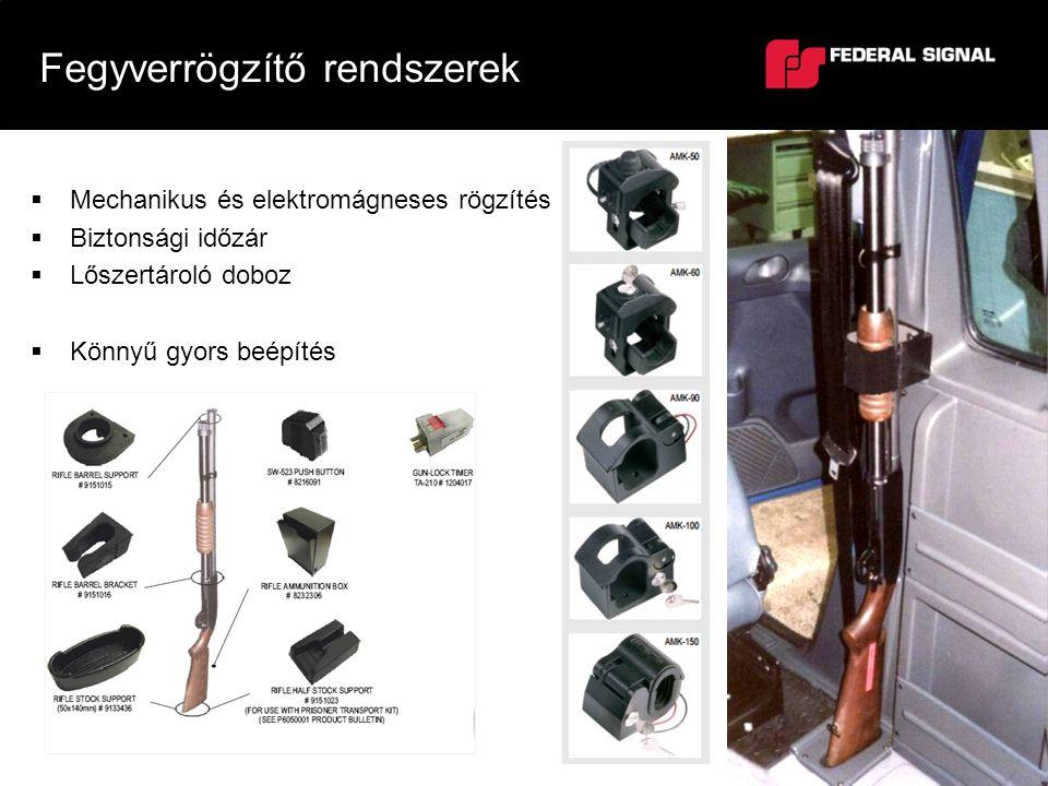  Mechanikus és elektromágneses rögzítés  Biztonsági időzár  Lőszertároló doboz  Könnyű gyors beépítés Fegyverrögzítő rendszerek