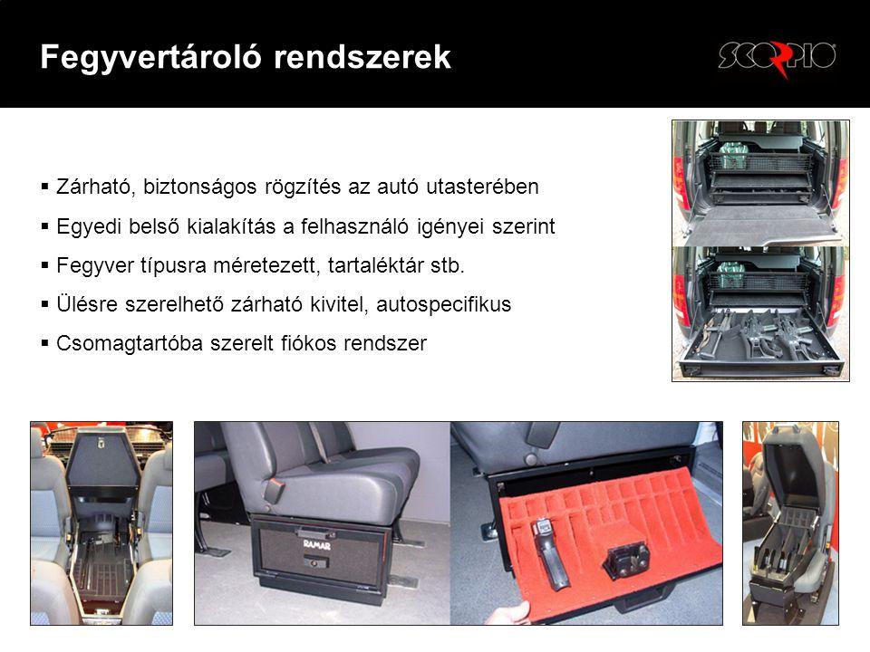  Zárható, biztonságos rögzítés az autó utasterében  Egyedi belső kialakítás a felhasználó igényei szerint  Fegyver típusra méretezett, tartaléktár