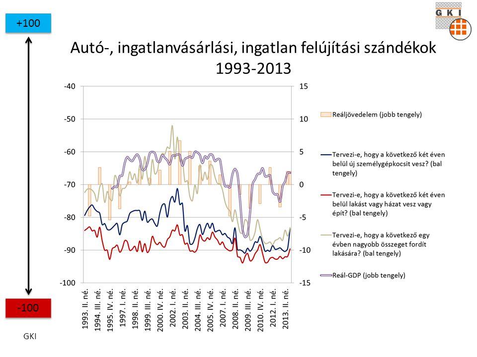 GKI +100 -100 Autó-, ingatlanvásárlási, ingatlan felújítási szándékok 1993-2013