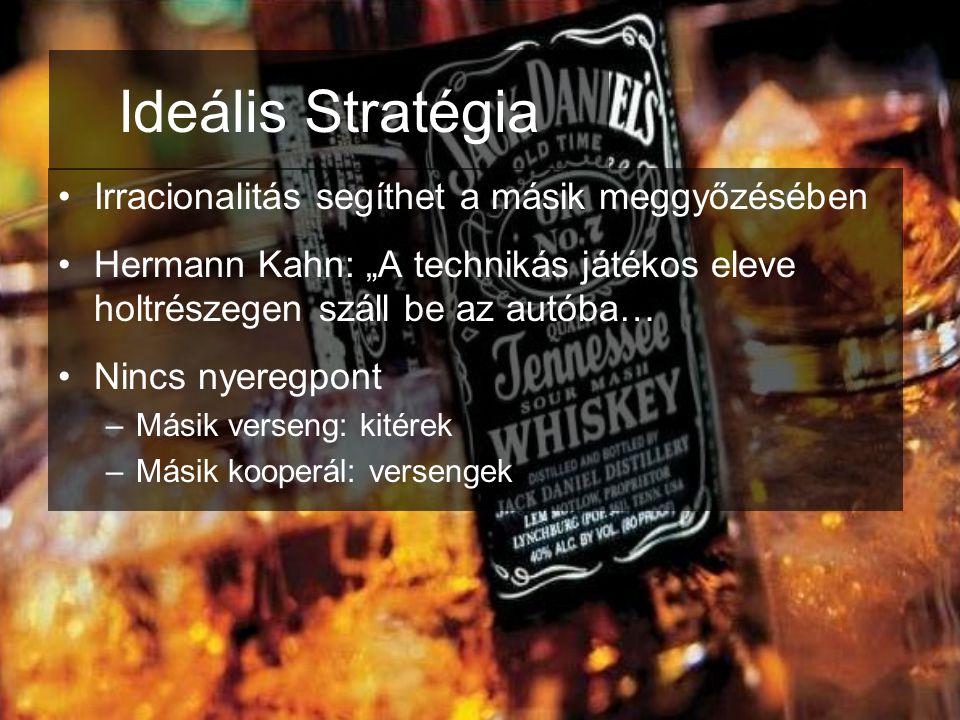 """Ideális Stratégia •Irracionalitás segíthet a másik meggyőzésében •Hermann Kahn: """"A technikás játékos eleve holtrészegen száll be az autóba… •Nincs nye"""