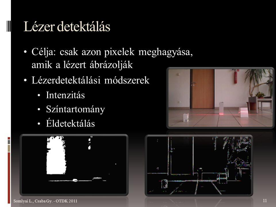 Lézer detektálás • Célja: csak azon pixelek meghagyása, amik a lézert ábrázolják • Lézerdetektálási módszerek • Intenzitás • Színtartomány • Éldetektálás Somlyai L., Csaba Gy.