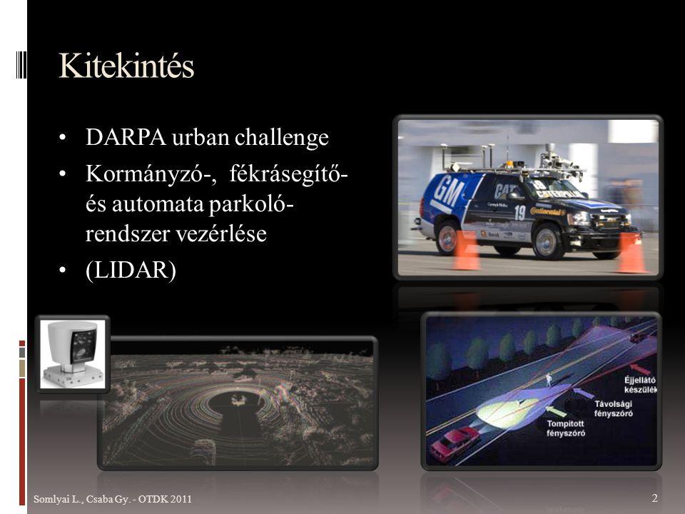 Kitekintés • DARPA urban challenge • Kormányzó-, fékrásegítő- és automata parkoló- rendszer vezérlése • (LIDAR) Somlyai L., Csaba Gy.
