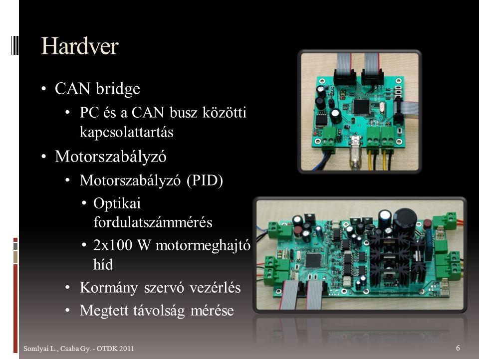 Hardver • CAN bridge • PC és a CAN busz közötti kapcsolattartás • Motorszabályzó • Motorszabályzó (PID) • Optikai fordulatszámmérés • 2x100 W motormeghajtó híd • Kormány szervó vezérlés • Megtett távolság mérése Somlyai L., Csaba Gy.