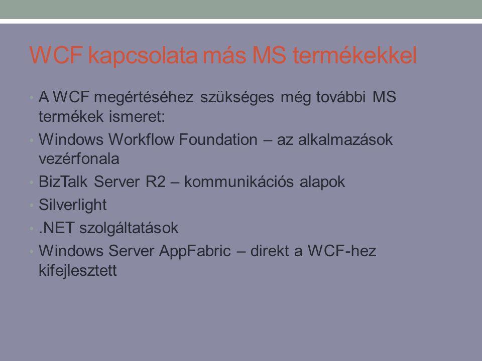 WCF kapcsolata más MS termékekkel • A WCF megértéséhez szükséges még további MS termékek ismeret: • Windows Workflow Foundation – az alkalmazások vezé