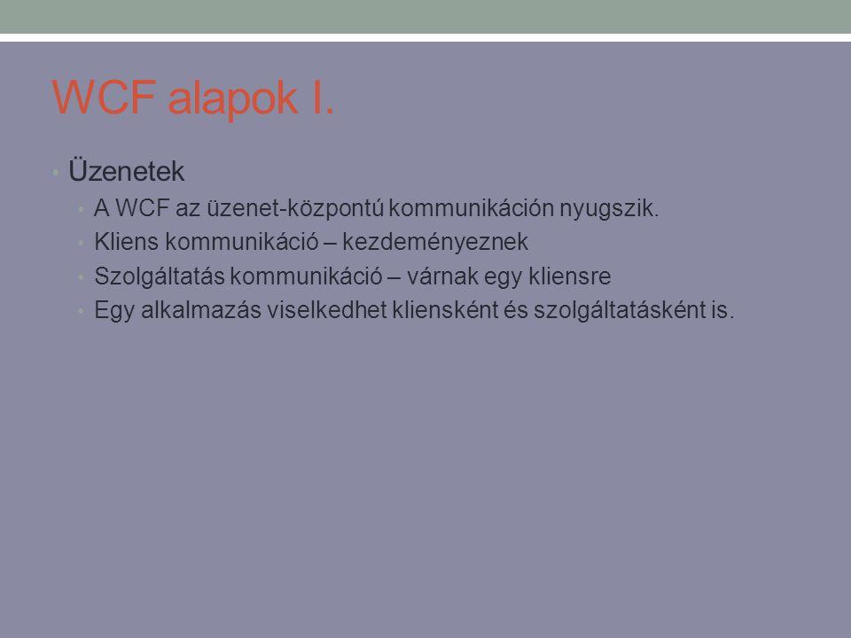 WCF alapok I. • Üzenetek • A WCF az üzenet-központú kommunikáción nyugszik. • Kliens kommunikáció – kezdeményeznek • Szolgáltatás kommunikáció – várna