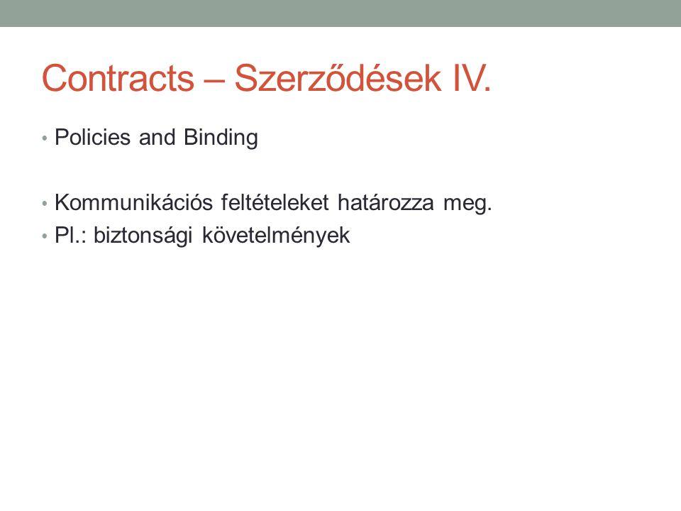 Contracts – Szerződések IV. • Policies and Binding • Kommunikációs feltételeket határozza meg. • Pl.: biztonsági követelmények